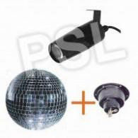 Effetto luce DANCING LIGHT = 1 sfera a specchi+ 1 motore+ 1 faretto led  (luce bianca)
